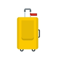 Yellow travel suitcase icon flat style vector image vector image