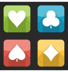 Bright playing cards suits icons set in modern vector image vector image