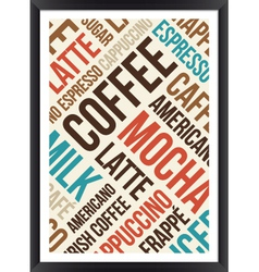coffee words cloud poster vector image