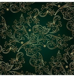 Floral vintage seamless pattern on green vector image vector image