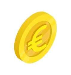 Gold coin with euro sign icon isometric 3d style vector image vector image