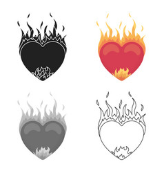 heart in flame icon in cartoon style isolated on vector image