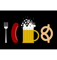 Oktoberfest set Sausage and beer mug Fork and vector image