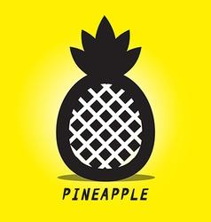 Pineapple Black Ananas Symbol on Yellow vector image