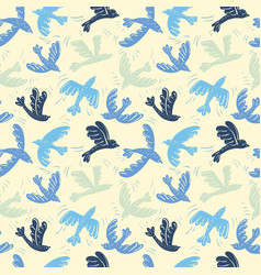 Silhouette flying birds seamless pattern vector