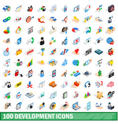 100 development icons set isometric 3d style vector image