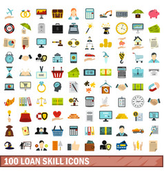 100 loan skill icons set flat style vector