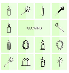 14 glowing icons vector