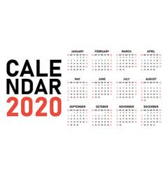 2020 calendar design template vector
