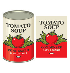 Banner with a tin can and a label for tomato soup vector