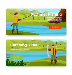 banners - fisherman on river with rod prey vector image