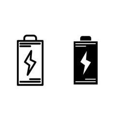 Battery line and glyph icon energy vector