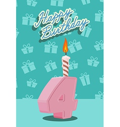 Birthday candle number 4 with flame vector