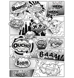 Black and white comic book page divided lines vector