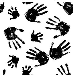 Black handprints on white background pattern vector
