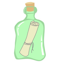Bottle with paper inside vector
