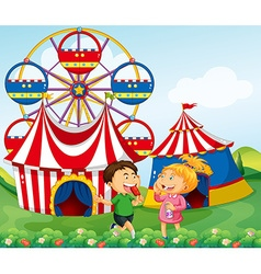 Boy and girl enjoying circus vector