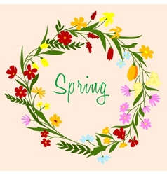 Bright colorful spring floral border vector image