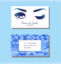 Business card with beautiful girl brow and eye vector