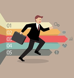 Businessman running with arrows infographic vector image