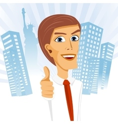 businessman standing with his thumbs up vector image