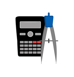 calculator and a compass icon vector image