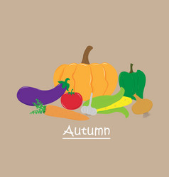 calendar card autumn vegetables good harvest vector image