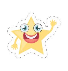 cartoon star ornament birthday cut line vector image