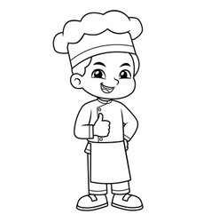 chef boy thumb up pose bw vector image