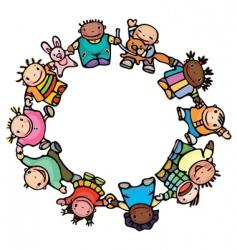 Circle happy children vector