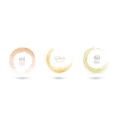 Circle splash with pastel yellow watercolor set vector