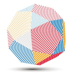 Complicated abstract colorful 3D striped shape vector