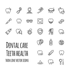 Dental care icons set thin line icons of vector