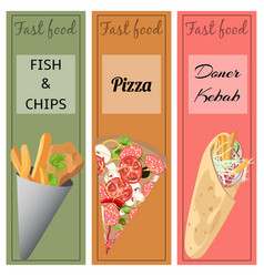 doner kebab pizza fish and chips vector image
