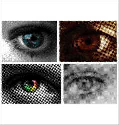 eyes halftone dots vector image