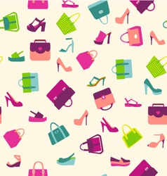 fashion Women bags handbags and summer shoes vector image