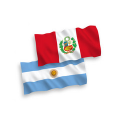 Flags peru and argentina on a white background vector