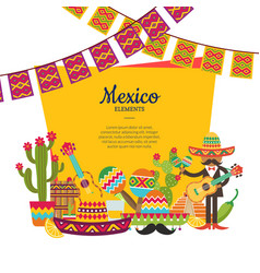flat mexico attributes below frame with vector image