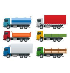 Flat trucks set isolated realistic vehicles on vector