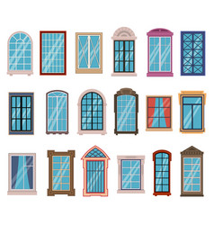 Flat windows frames colorful various wooden vector