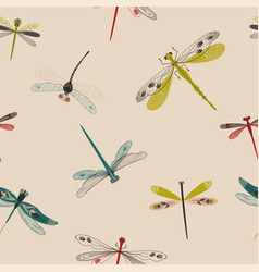 folk art seamless pattern with dragonflies vector image