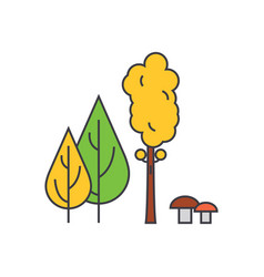 forest trees line icon concept forest trees flat vector image