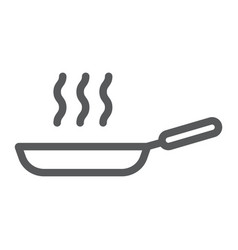 frying pan line icon kitchen and cooking fry vector image