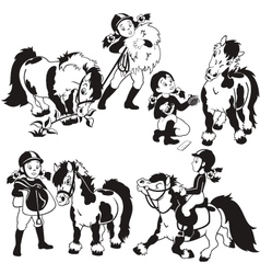 Girl and pony black and white vector