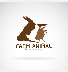 group of animal farm label cowpigchickengoat vector image