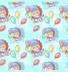 hand drawn happy cute lion with balloons and vector image