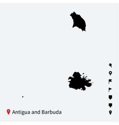 high detailed map antigua and barbuda vector image