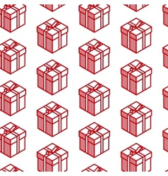 holiday seamless pattern with red gift boxes vector image