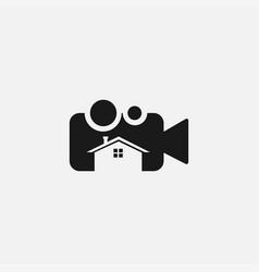 Home studio movie or photography logo design vector