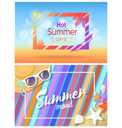 hot summer days summertime mood bright cards set vector image